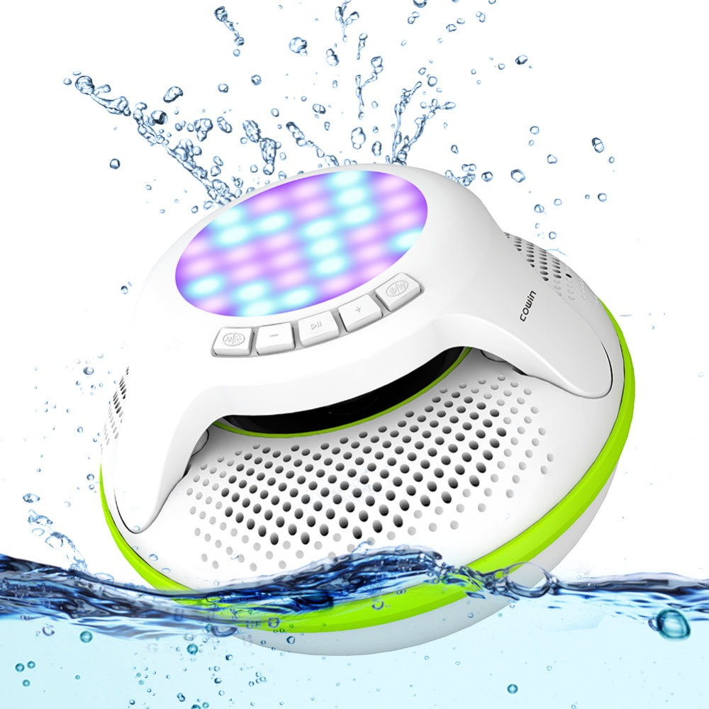Cowin Swimmer IPX7 Waterproof Bluetooth Speaker Wireless Portable Shower Subwoofer Stereo Mini Light LED loudspeake For Phone
