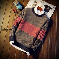 Осенне-зимний мужской свитер с круглым вырезом, однотонные водолазки, мужские свитера, Молодежный тренд, новый тонкий свитер с длинными рук...