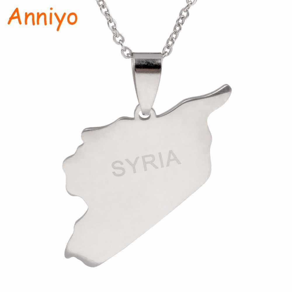 Anniyo Syria Map Necklaces 316 Stainless Steel Charms Pendant Necklaces Syrians Jewelry Middle East #007321B