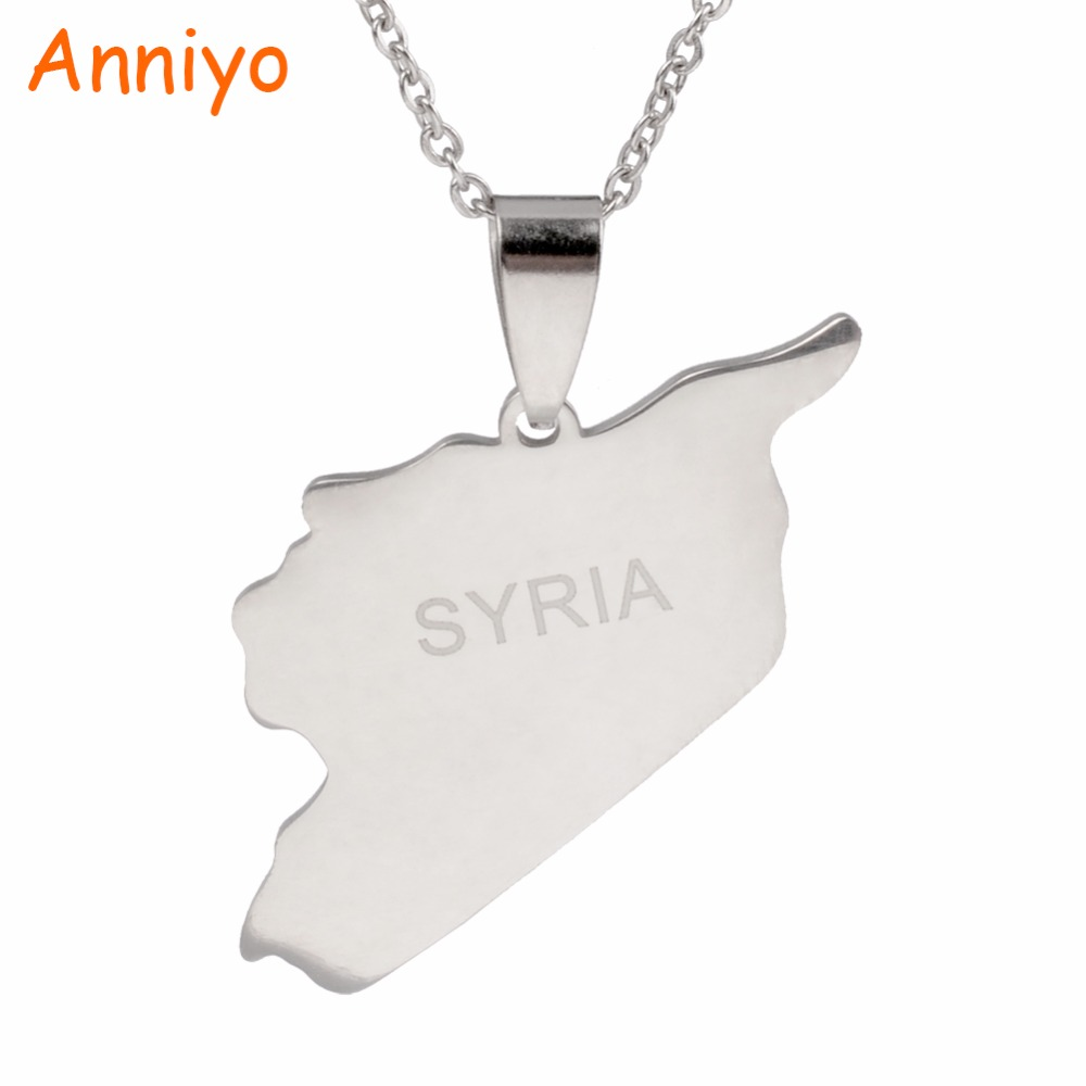 Anniyo Syria Map Necklaces 316 Stainless Steel Charms Pendant Necklaces Syrians Jewelry Middle East #007321BAnniyo Syria Map Necklaces 316 Stainless Steel Charms Pendant Necklaces Syrians Jewelry Middle East #007321B