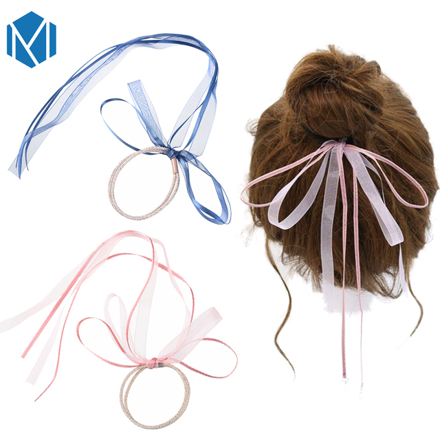 M MISM Bow-knot Ponytail Holder Ribbon Hair Band Accessories Woman Headband  Girls Gum for Hair Female Party Elastic Hairband 5e0fd2607c0
