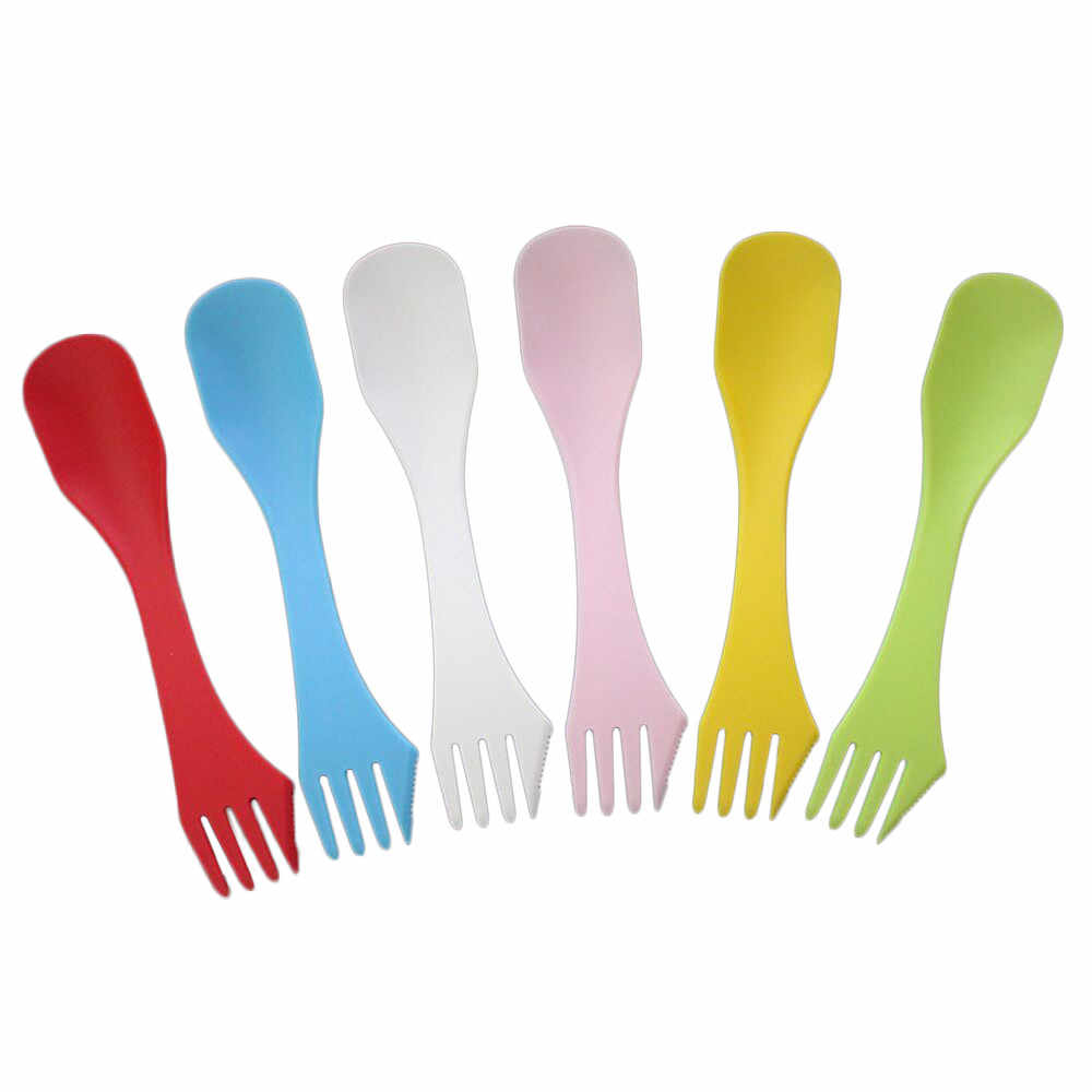 1 sets(6pcs=1set) 3 In 1 Outdoor Camp Tableware Heat Resistant Spoon Fork Knife Camping Hiking Utensils Spork Combo Travel  1D1