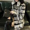 New Designer 85cm Vintage Natural Rex Rabbit Chinchilla Fur Winter Long Coat Jacket with Fur Collar For Women