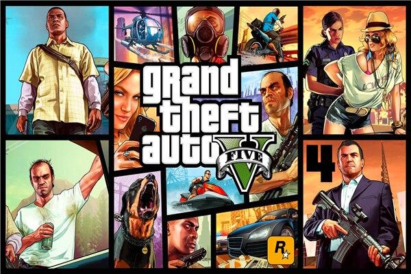 Custom Canvas Art Grand Theft Auto Poster GTA5 San Andreas Game Wallpaper Wall Stickers