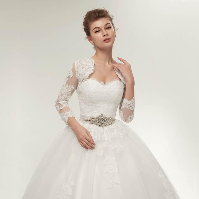 Fansmile Two Piece Long Sleeve Jacket Wedding Dresses 2017 Plus Size Bridal  Ball Gowns Vestido de 319da3ef9143