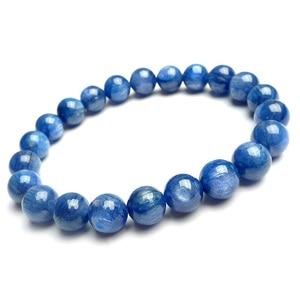 8mm 100% Natural Genuine Blue Kyanite Gemstone Crystal Round Bead Stretch Bracelets For Women Female Drop Service