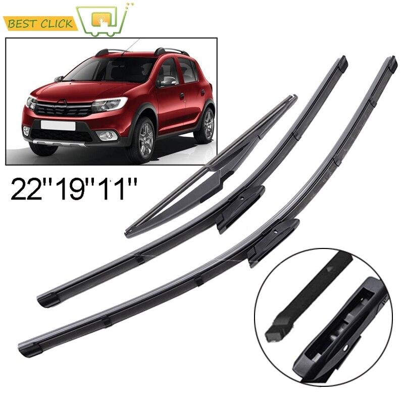 "Dacia Logan estate 2015-Onwards windscreen wiper blades 22/'/'19/""12/"" full set of 3"