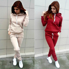 Autumn Winter Women Clothing Hoodies Sweatshirt + Sweat pant 2 Pieces Women Tracksuit Pocket Casual Fitness Female Pullovers