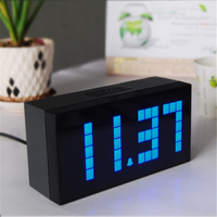 FreeShipping Digital Large Big Jumbo LED Snooze Wall Desk Alarm With Thermometer Indoor Clock