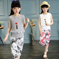 Summer fashion Leisure Pure color chiffon children's clothing Set Girls Boys clothes baby wear sportswear + pants 2pc 3 Color