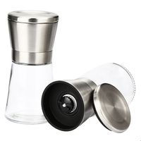 2pcs Manual Salt Pepper Mill Grinder Stainless Steel Portable Grinder Spice Muller Kitchen Tools Spice Pepper Mill Machine
