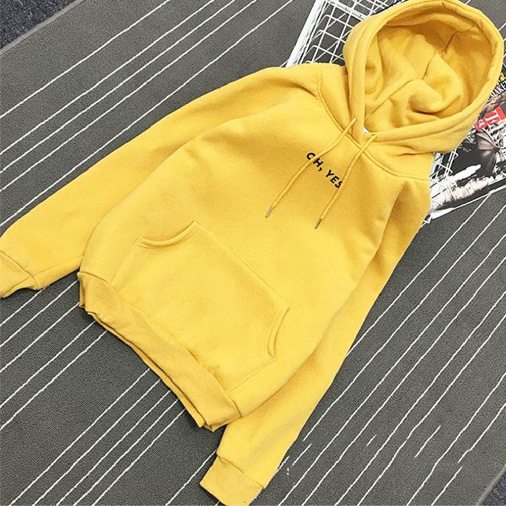 2018 Fashion Autumn Spring Fleece Oh Yes Letter Harajuku Print Pullover Thick Loose Women T-Shirts Female Casual Shirt Tops New