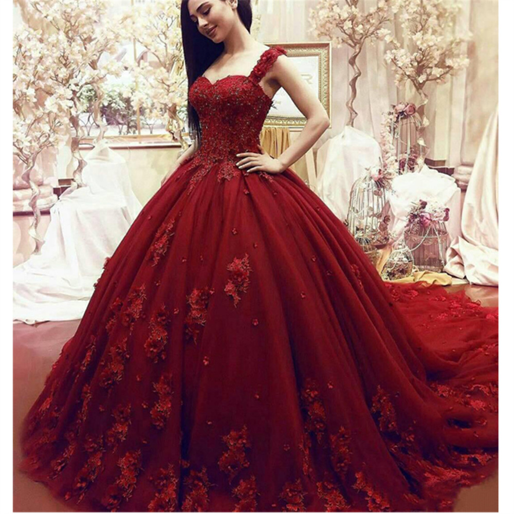 Vestido De Noiva 2019 Luxury Red Wedding Dresses Sweetheart Lace Applique 3D Flowers Bridal Dresses Chapel