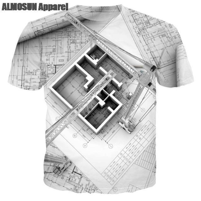 Almosun Building Designer Blueprint 3d All Over Print T Shirts Short Sleeve Shirts Hipster Summer Designer