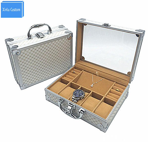 Luxury Aluminum Watch&Jewelry Suitcase Storage with Handle Watches Box Organizer Case Dispaly Watch Travel Box Luggage Promotion