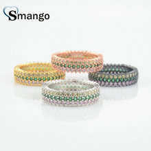 5Pieces,Women Fashion Jewelry,The Rainbow Series Round Shape Rings,4 Plating Pave Setting CZ Rings