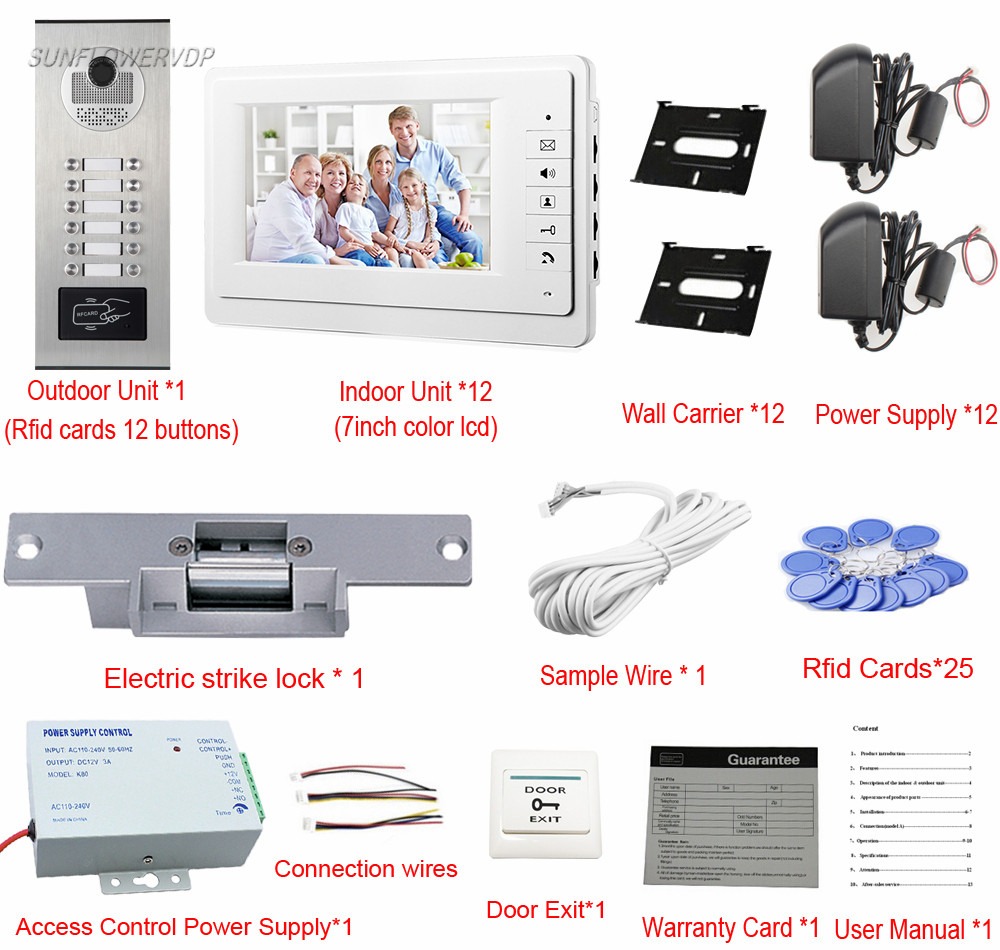 Video Doorbell Rfid For 12 Apartments Door Bell With Camera Wiring Up Electric Strike Lock Phone Eye Interphone Kit In Intercom From