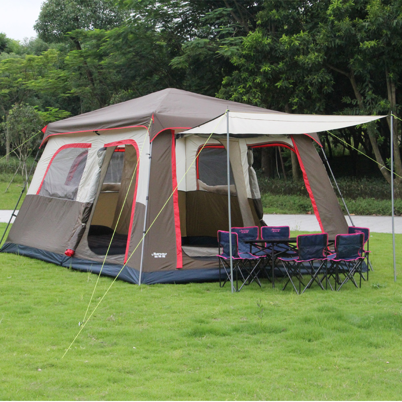 New arrival Brown color Ultralarge 6 10 12 double layer outdoor 2living rooms and 1hall family camping tent include one set pole