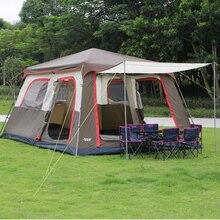 Новое поступление коричневый цвет очень 6 10 12 двойной слой Открытый 2 гостиных и 1 зал семья палатка включает один набор полюс