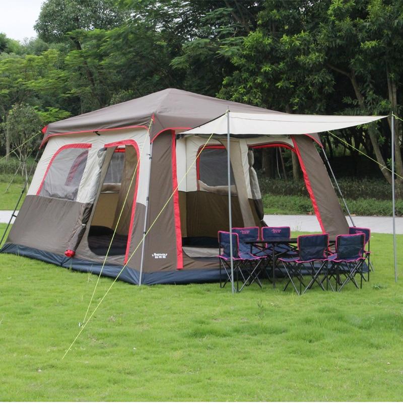Nueva llegada color marrón Ultralarge 6 10 12 doble capa exterior 2 salas de estar y 1 tienda de campaña familiar incluye un poste