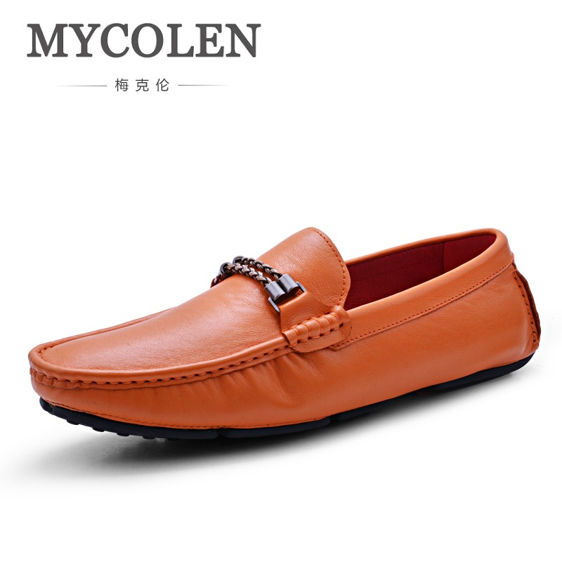 MYCOLEN Men Leather Casual Shoes Loafers Fashion Men Shoes Moccasins Chaussures Flats Male Breathable Driving Shoes Sapatos mycolen brand new fashion autumn spring men driving shoes loafers leather boat shoes breathable male casual flats loafers