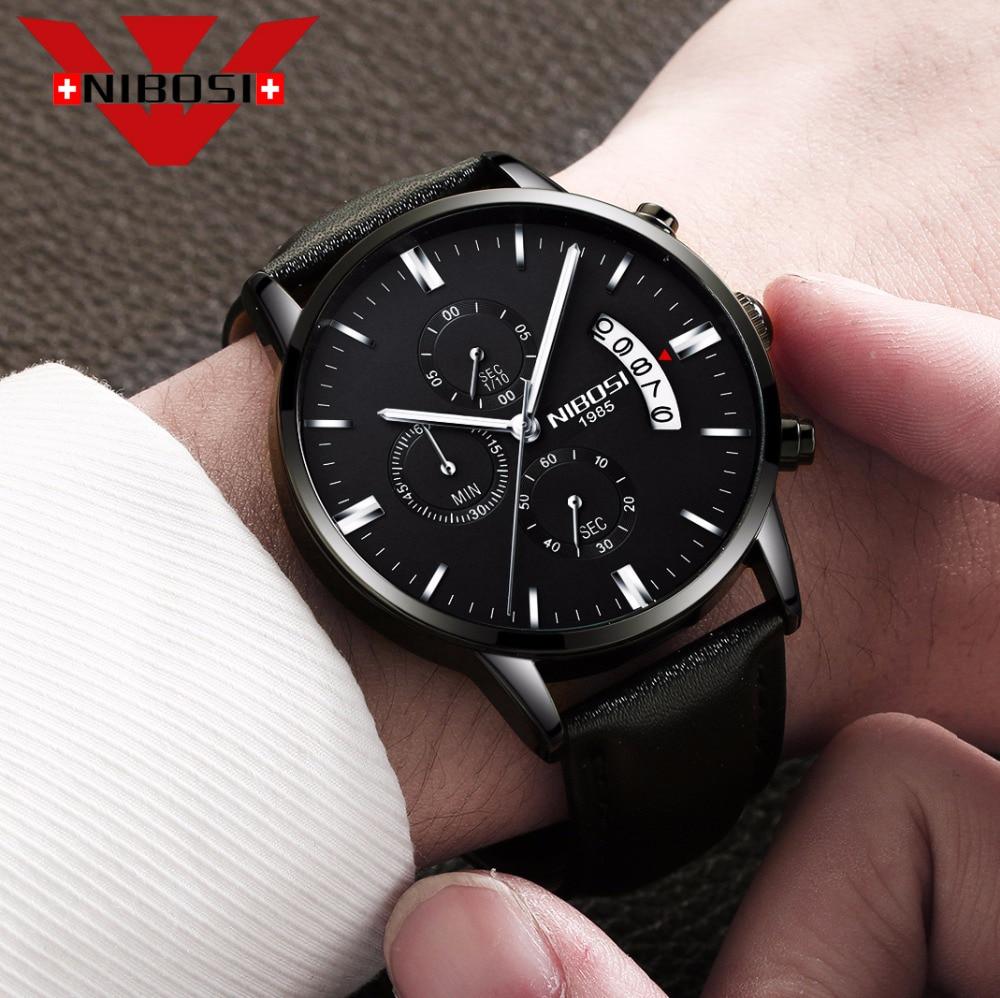 Image 3 - NIBOSI Mens Watch  Luxury Top Brand Fashion Watches Relogio Masculino Military Army Watches Analog Quartz Wristwatches Leatherleather brandleather fashionleather leather -