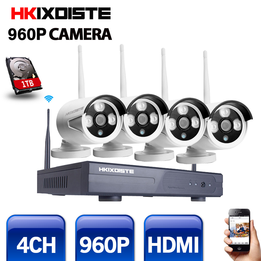 4CH CCTV System 960P NVR 4PCS 1.3 MP IR Outdoor P2P Wireless Wifi IP CCTV Camera Security System Surveillance Kit 1TB HDD