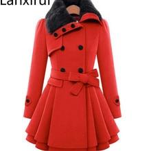 Модное женское осеннее зимнее теплое шерстяное пальто Верхняя одежда средней длины с меховым воротником Повседневная Толстая куртка пальто