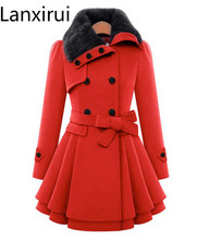 Fashion Women Autumn Winter Warm Woolen Coat Outerwear Medium -Long Fur Collar Casual Thick Jacket