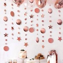 Бумажная гирлянда 4 м, круглые баннеры со звездами, Свадебный баннер для вечеринки в честь Дня Рождения, домашнее украшение, Детские бандажные флаги для вечеринки