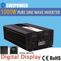 5000 W nguyên chất sóng sin năng lượng mặt trời 12 V 24 V 48 V sang AC 110 V 220 V màn hình hiển thị kỹ thuật số
