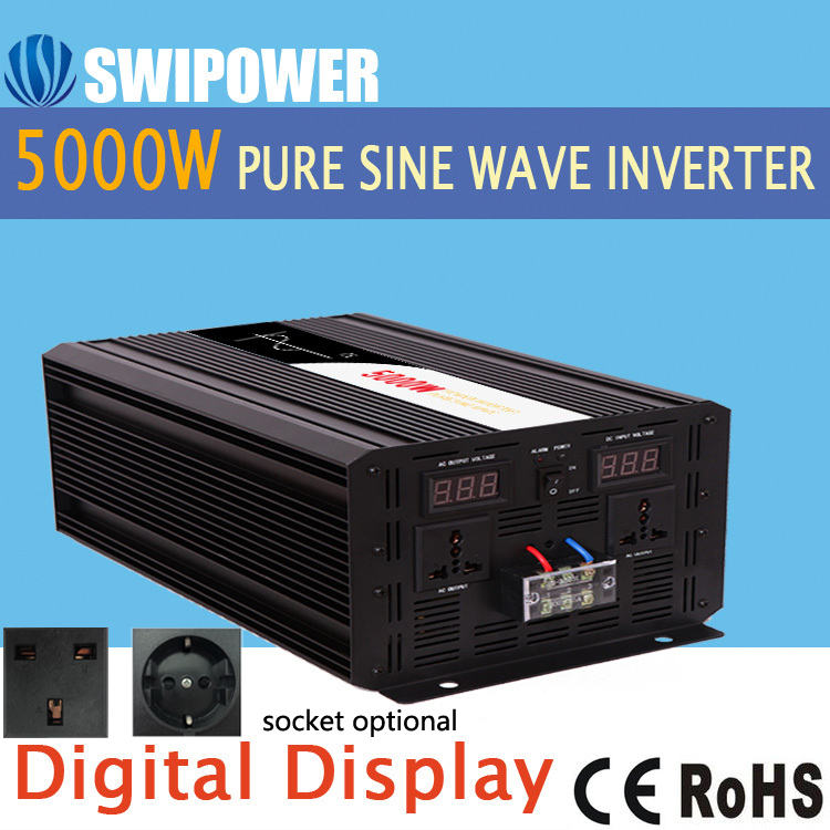 5000 w pur puissance d'onde sinusoïdale onduleur solaire DC 12 v 24 v 48 v à AC 110 v 220 v affichage numérique