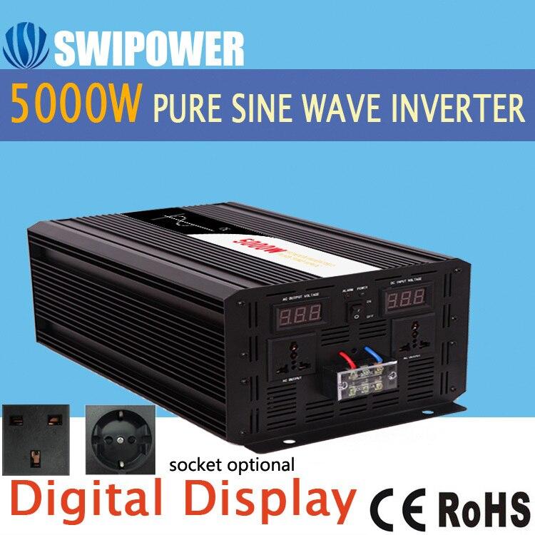 5000W pur onduleur à onde sinusoïdale DC 12V 24V 48V à AC 110V 220V affichage numérique
