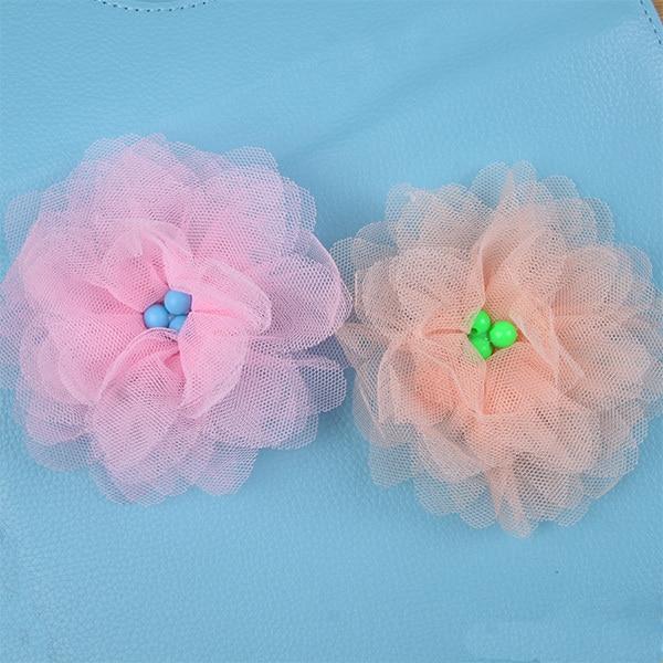 Mom  Ped Store Cute Children Girls Hairclip Princess Big Flower Hairpins Three Bead Hair Accessories Barrette