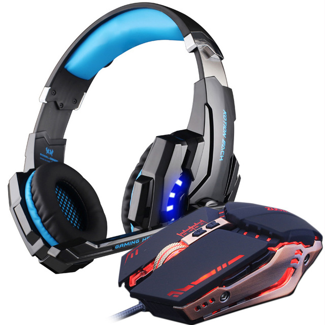 Gaming Headset and Gaming Mouse 4000 DPI Adjustable Stereo Gamer Earphone Headphones 2
