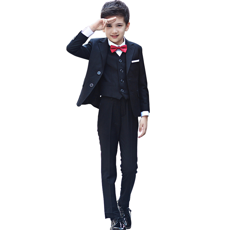 2019 Boys Wedding Suits 3 Pcs Shirt Pants Blazers Formal Children Dress Suits Bowtie Gentleman Party Clothes Piano Costumes-in Suits from Mother & Kids    1