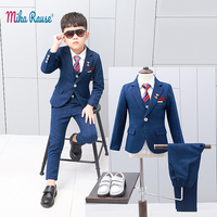 New children's suits blazer for boys slim body Blue plaid flower boy formal suit jacket Baby birthday party costume kids blazers