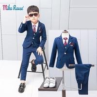 New children's suits blazer for boys slim body Blue plaid flower boy formal suit jacket Baby birthday party costume kids blazers