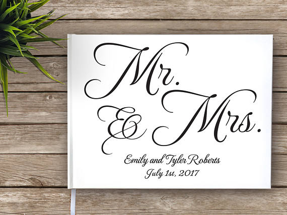 d0afb45c18f27 US $20.89 5% OFF|Elegant White Wedding Guest Book Alternatives,Personalized  Mr Mrs Name Date Wedding Guestbook,Custom Wedding Journal Photo Album-in ...