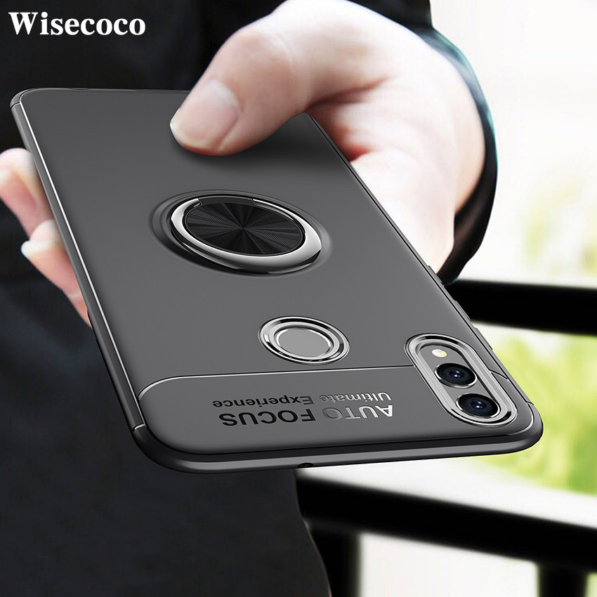 Shockproof <font><b>Honor</b></font> <font><b>8x</b></font> Silicon Case Cover for Huawei <font><b>Honor</b></font> <font><b>8x</b></font> Finger Ring Car Magnetic Holder Back Funda for Huwai Honor8x Coque image