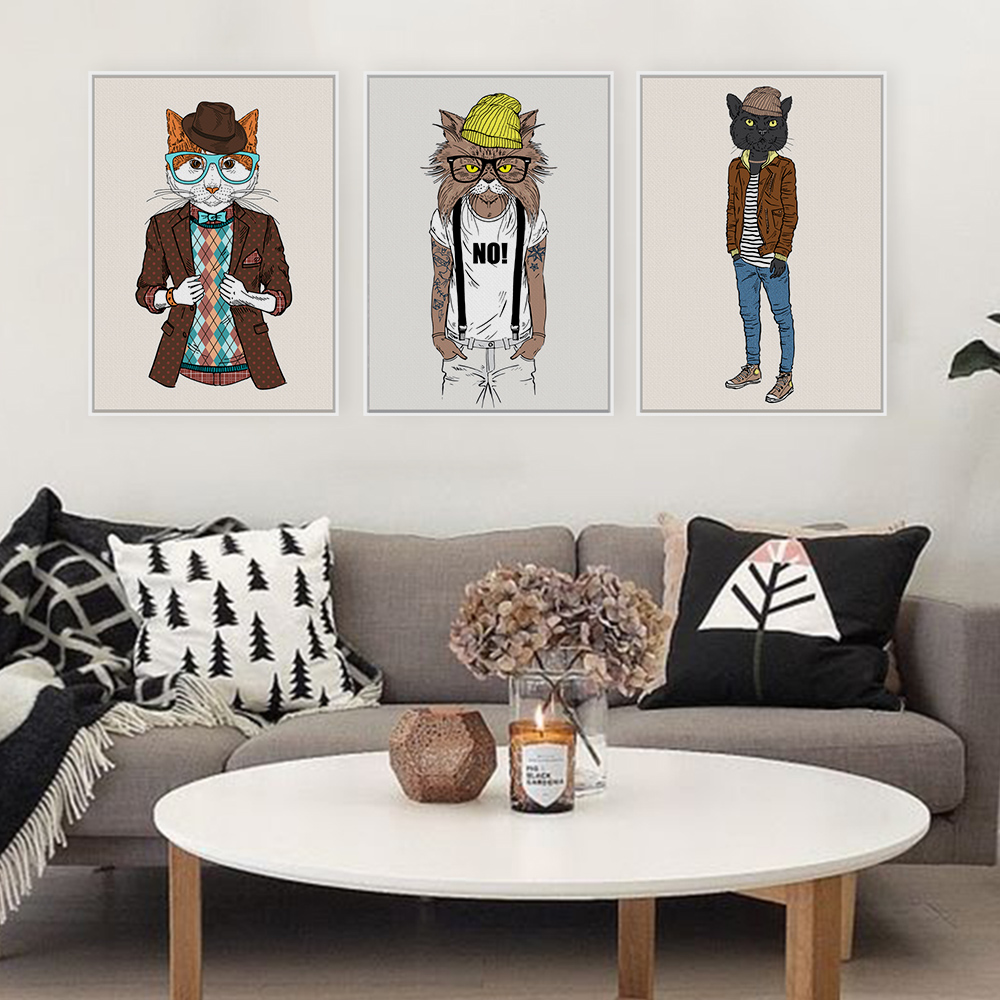 popular hippie art buy cheap hippie art lots from china hippie art fashion animals cat cartoon art prints poster hippie wall picture canvas painting no framed kids room