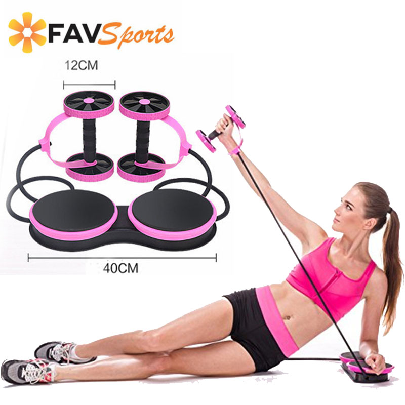 Dual Wheel Fitness Trainer abdominal Fitness AB Roller Crossfit Resistance Pull Rope Body Building abs simulator