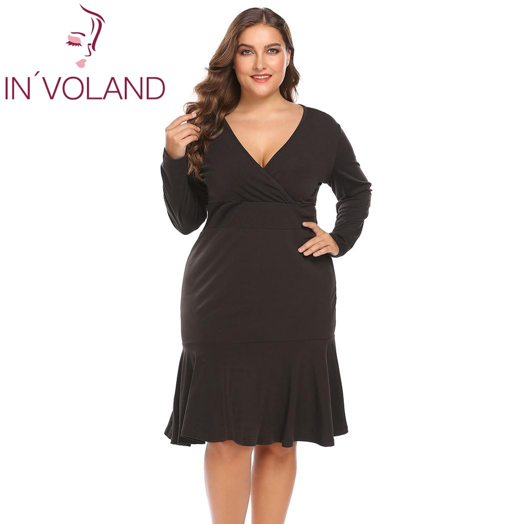 IN'VOLAND Grande Taille XL-4XL Femmes Moulante Robe Vintage Sirène Solide Parti Slim Crayon Fishtail Grand Robes Plus La Taille