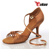 Evkoodance Tan Color 8.3cm High Heel Latin Dance Shoes For Ladies 2017 New Style With Comfortable Satin Material Evkoo 020