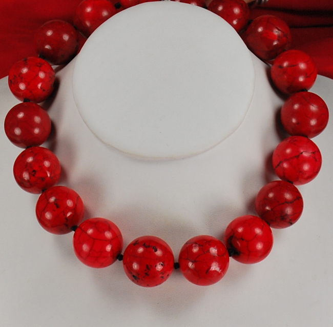 Large Red bead Hand Knotted Silver Necklace 18 casio baby g ba 110tp 7a