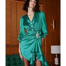 שמלת ירוק שרוול ריינסטון