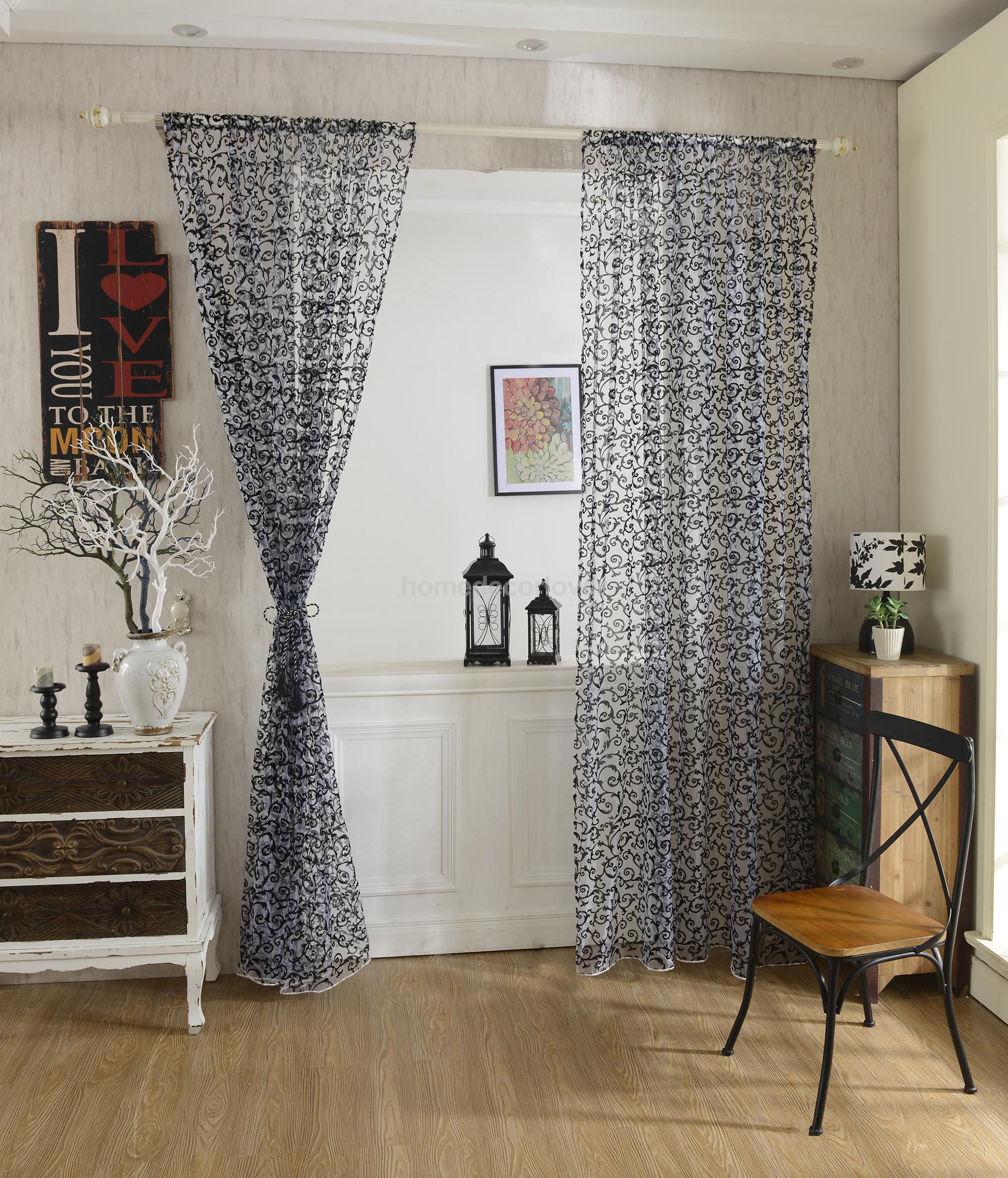 2Pcs Flocking Tulle Voile Door Window Curtain Drape Panel Sheer Scarf  Valances Home Living Room Decor