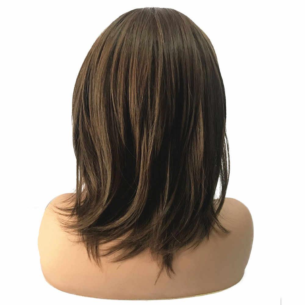Perruque synthétique mi-longue lisse marron foncé | Perruque naturelle, coupe de cheveux en couches, Auburn moyen, pour femmes