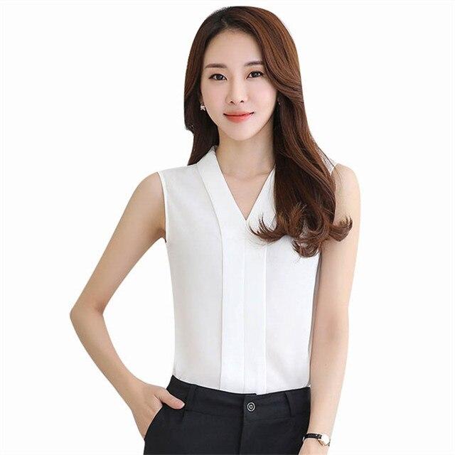 a8fd5984efd New Fashion Women Chiffon Blouses Ladies Tops Female Sleeveless Shirt  Blusas Femininas White