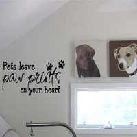 BIG Pets Leave Paw Prints On Your Heart Dog Animal Vinyl Wall Quote Decal Wall Paper